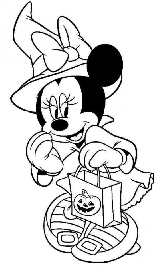 Disney Halloween Minnie Coloring Sheet for Kids Picture 7 550x938 ...