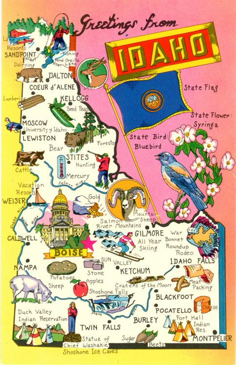 Idaho State Map Gem State Vintage Chrome Postcard Vintage - State of idaho map