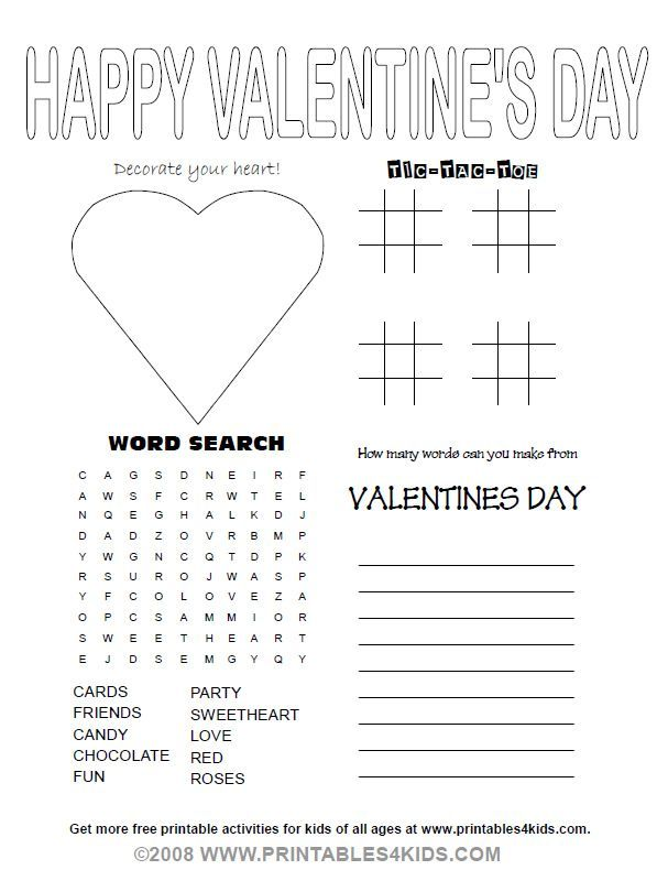 Valentines Day Party Activity Sheet : Printables for Kids ...