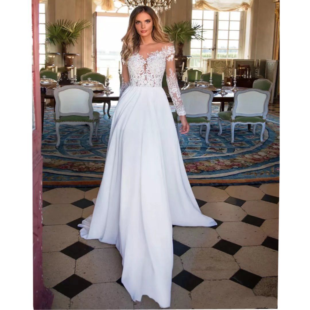 Chady sexy sheer long sleeves beach lace wedding dresses for