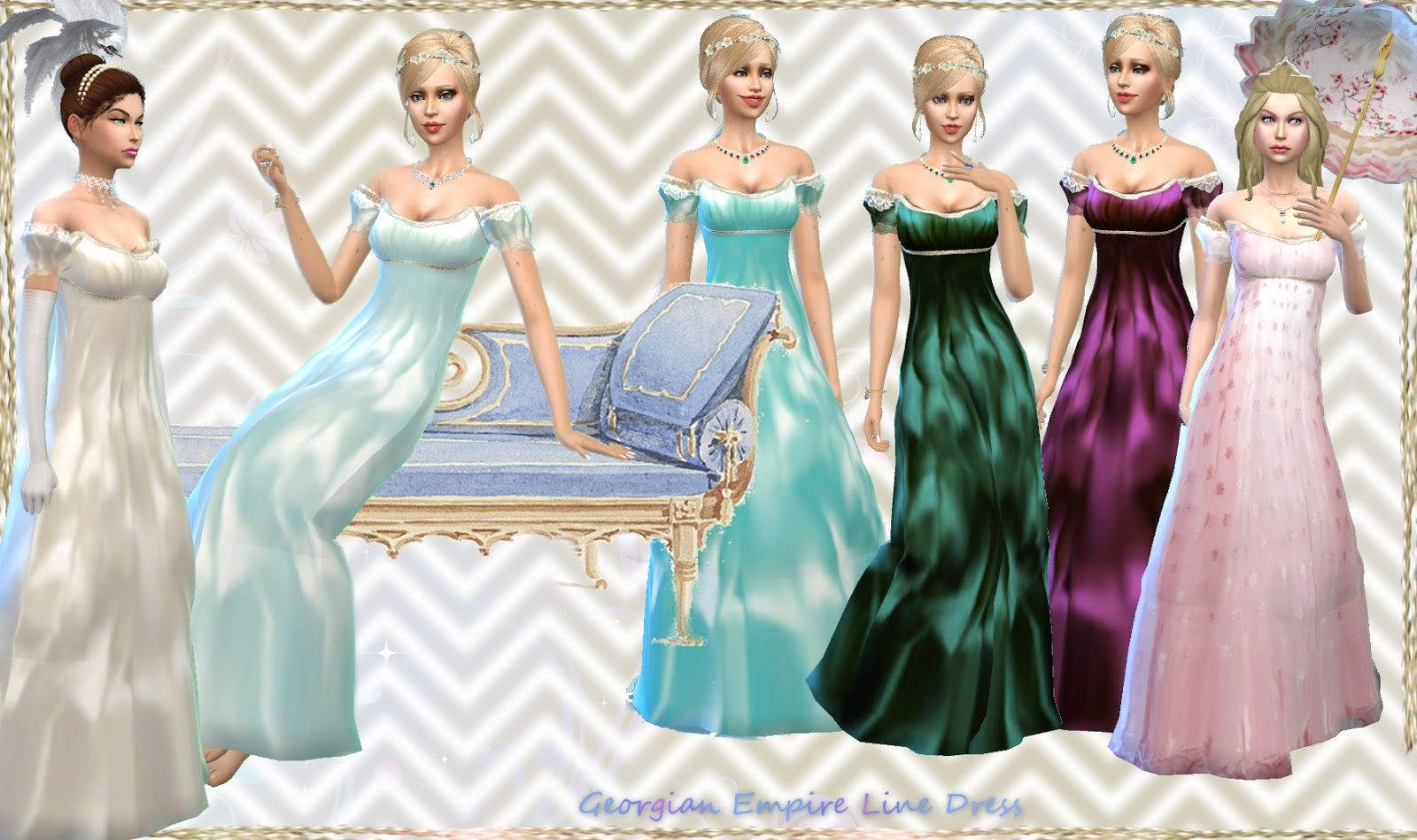A Set Of 19 Dress Options From The Georgian Neoclassic 1800s Period 19th Century All In One File Http Mythicaldr Sims 4 Wedding Dress Sims 4 Dresses Sims 4