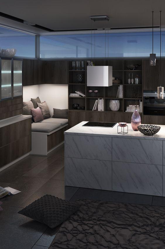 Küche mit Kochinsel aus Marmor Dekor Golden 20ies Küche Pinterest - küchen mit kochinsel