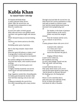 essay on coleridges kubla khan