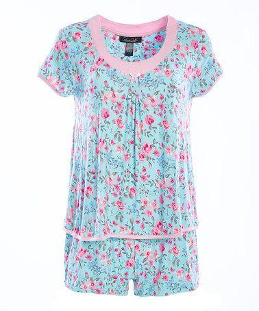 0ecbc1894d Love this Blue   Pink Floral Simply Me Pajama Shorts Set on  zulily!   zulilyfinds