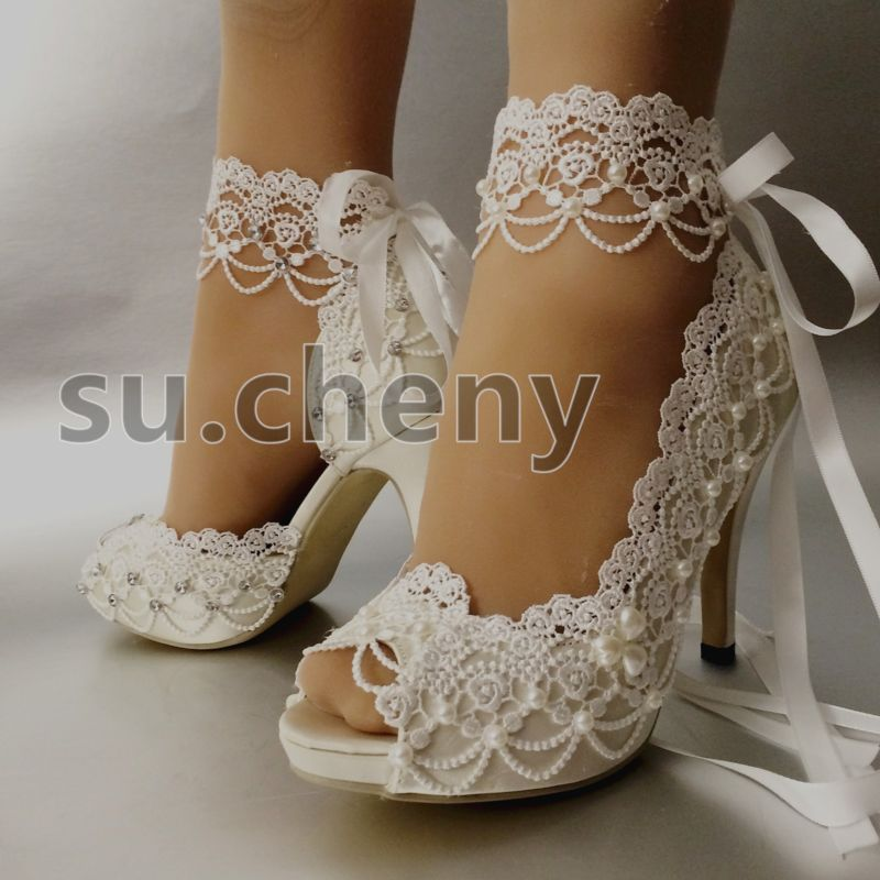 "3 4 Heel White Ivory Satin Lace Ribbon Open Toe Wedding: Details About Su.cheny 3"" 4"" Heel White Ivory Satin Lace"