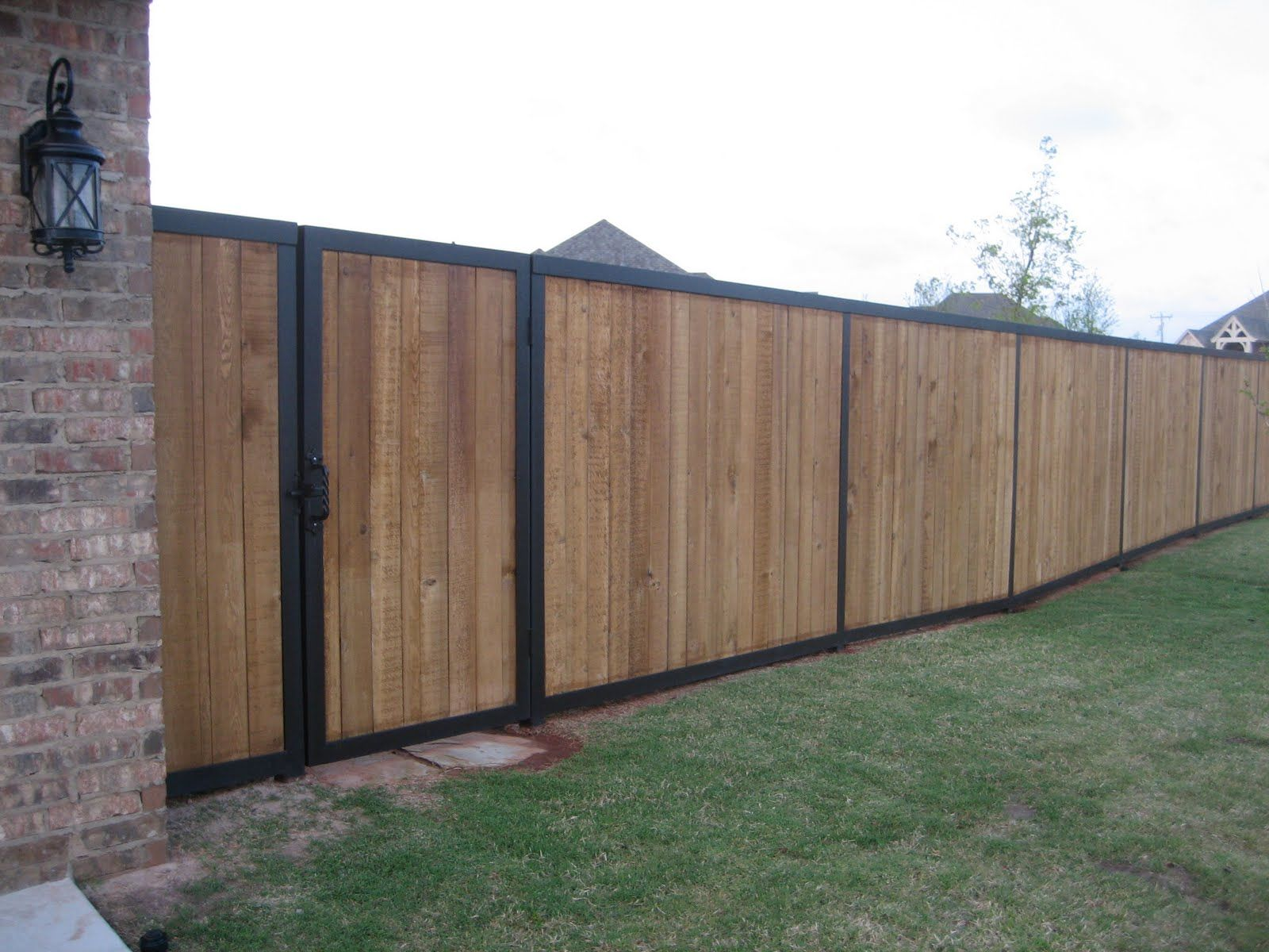 metal post cedar fence - Google Search