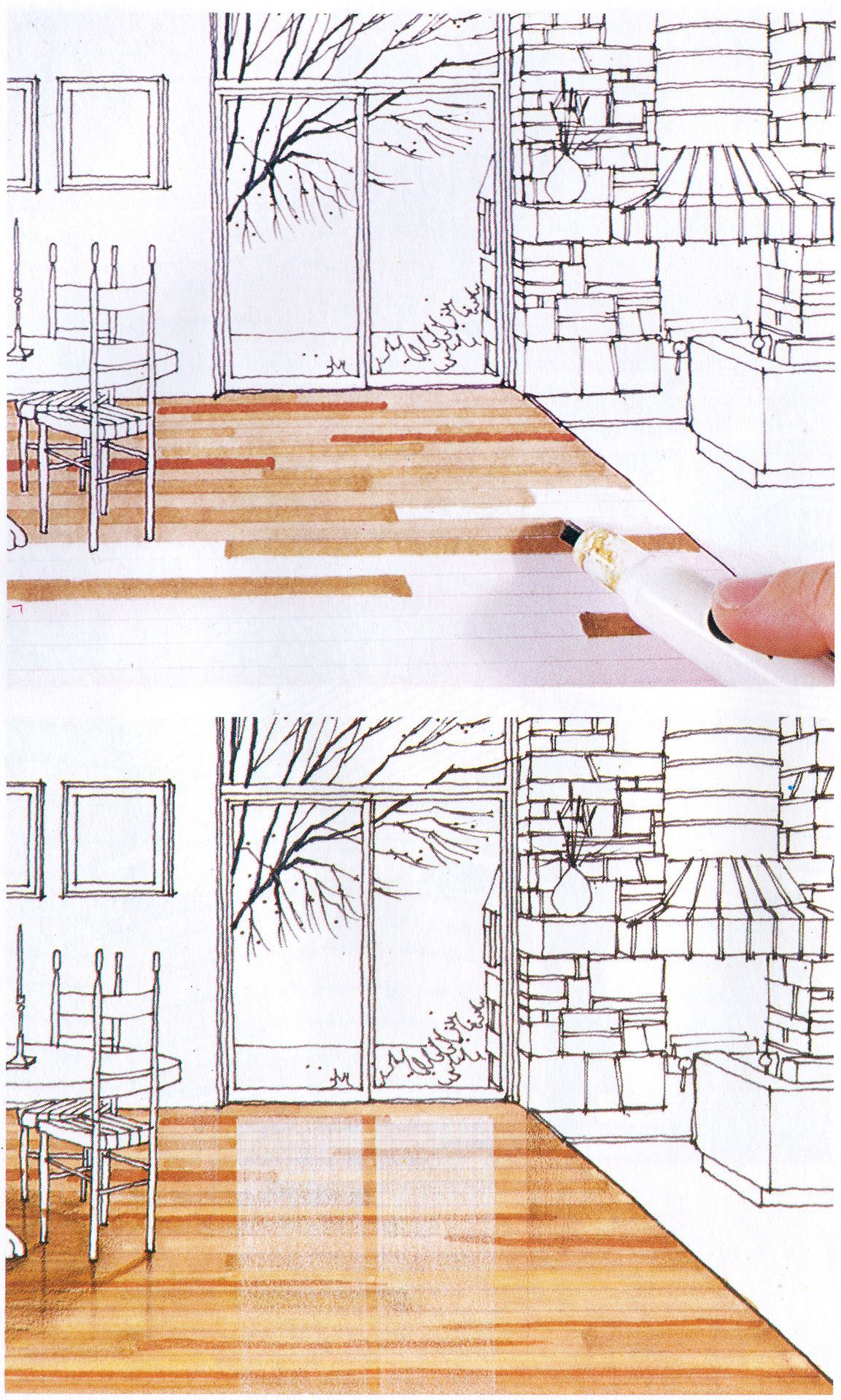 Interior Design Color Sketches drawing with markers is cool old school. from michael doyle's