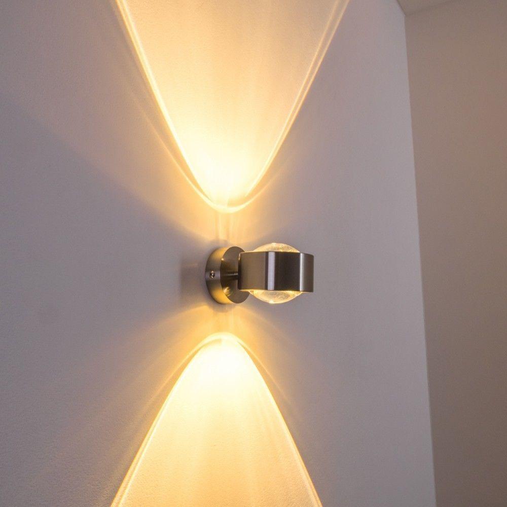 Design Wohn Zimmer Leuchten Kuchen Flur Lampe Nickel Wandleuchte Glas Up Down Ebay Wandleuchte Lampe Wand Lampe