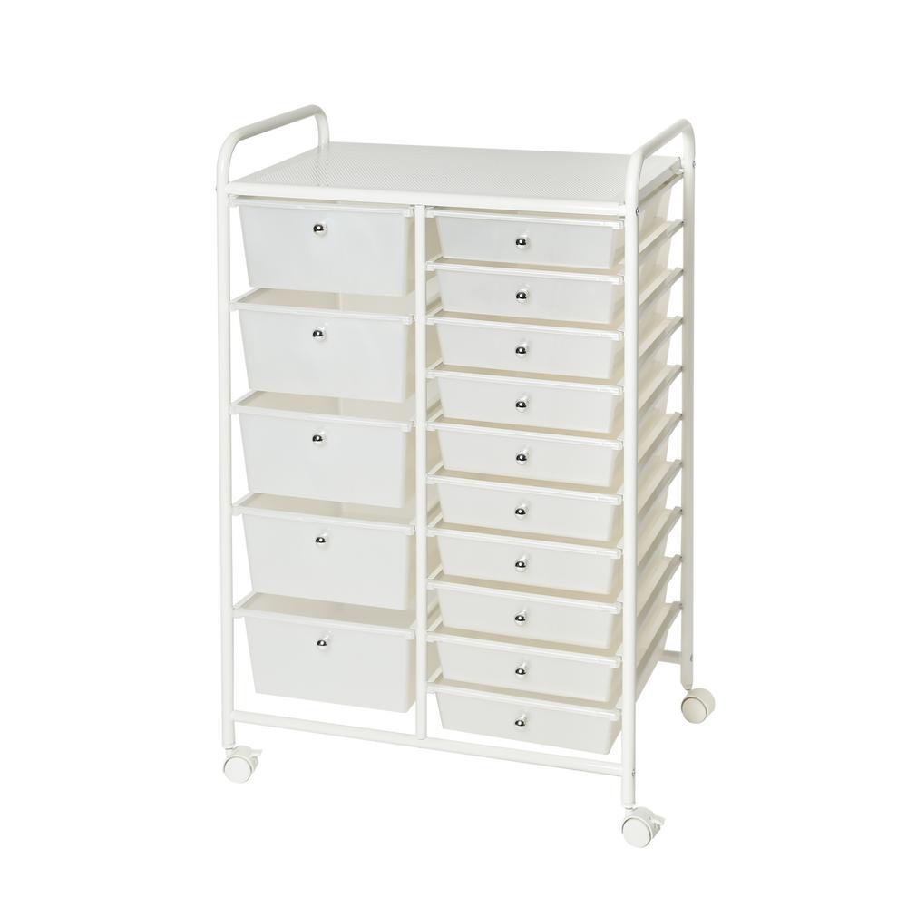 Seville Classics Pearlized White 15 Drawer Organizer Cart