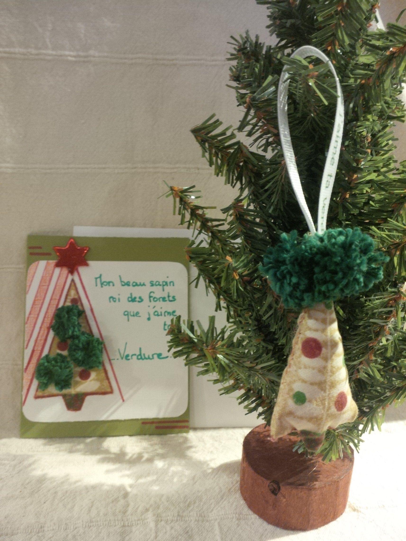 card and Christmas tree ornament \'Mon beau sapin\