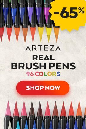 Real Brush Pens Set Of 96 In 2019 Watercolor Art Art