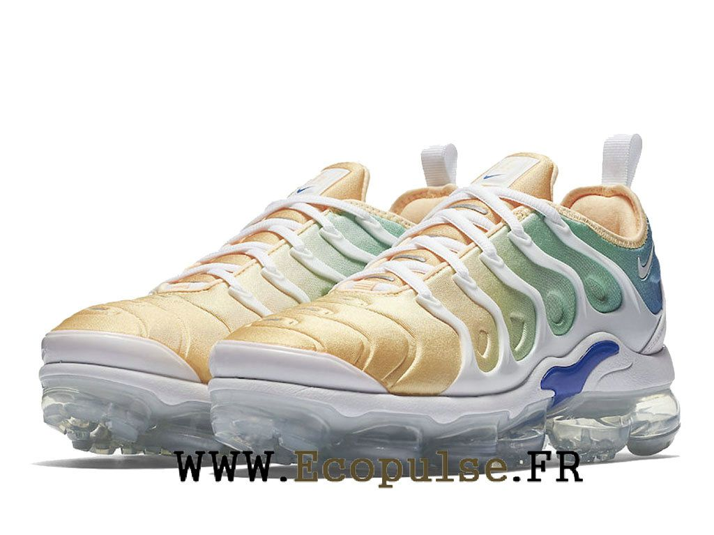 newest collection 3f848 f7caf Nike Air VaporMax Plus 2018 Exercice Chaussures TN Pas Cher Homme Blanc bleu  orange AO4550-