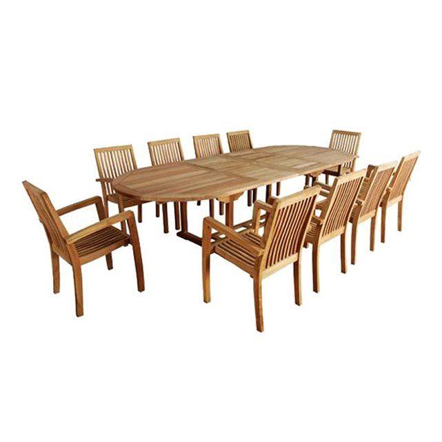 Salon de jardin en bois de TECK BRUT QUALITE PREMIUM - Table ovale ...
