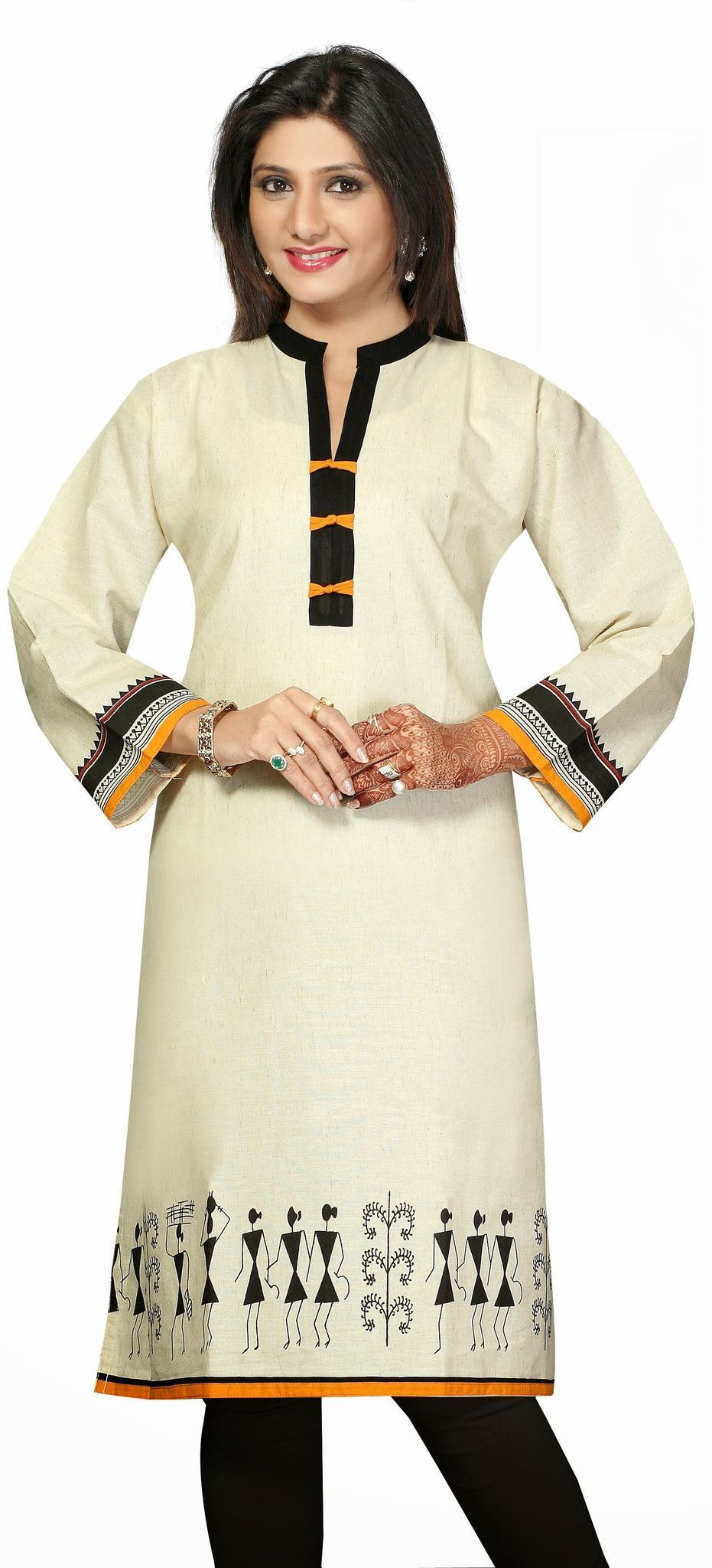 Off white long khadi kurti in black and yellow pippin and printed