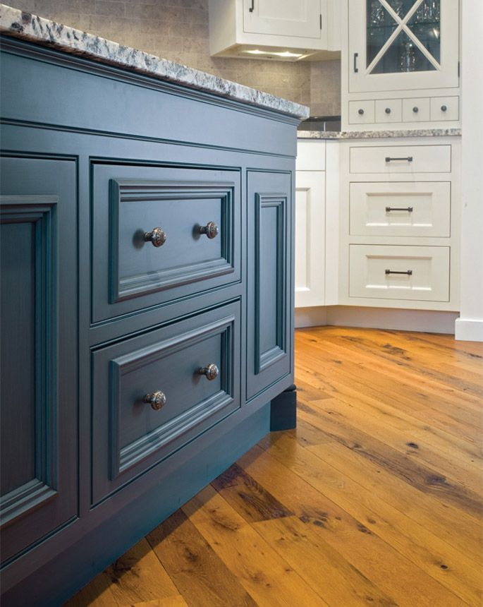 Blue Painted Kitchen Cabinets rich legacy blue paint and glaze is featured on the island, where