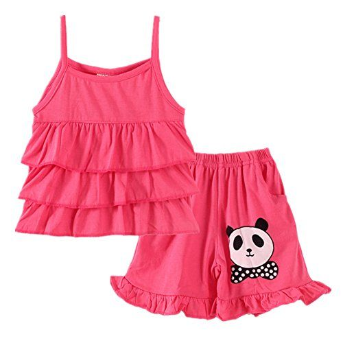 LittleSpring Little Girls Summer Outfit Strawberry Halter Dress and Shorts Set