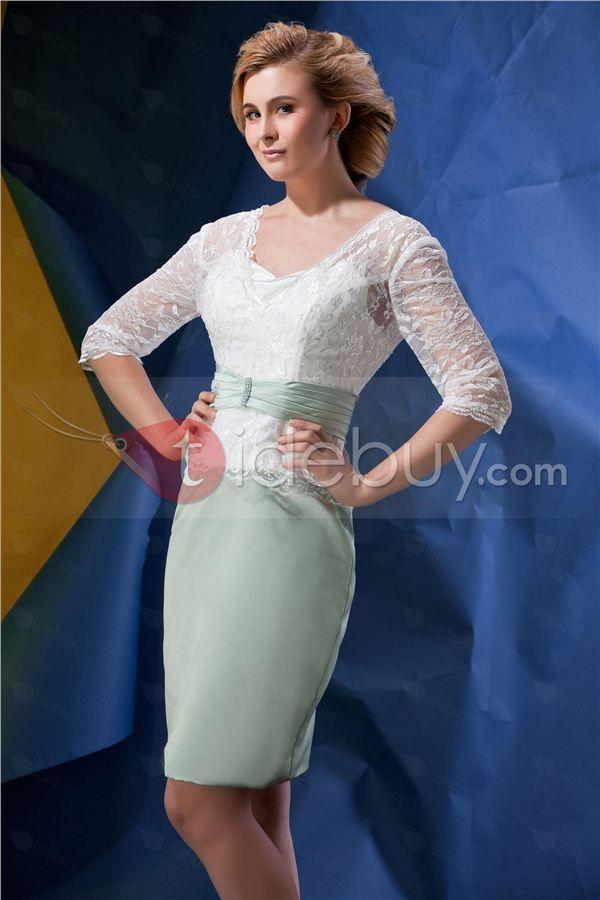 レースシースVネックハーフスリーブ膝丈Alinaの母ドレス