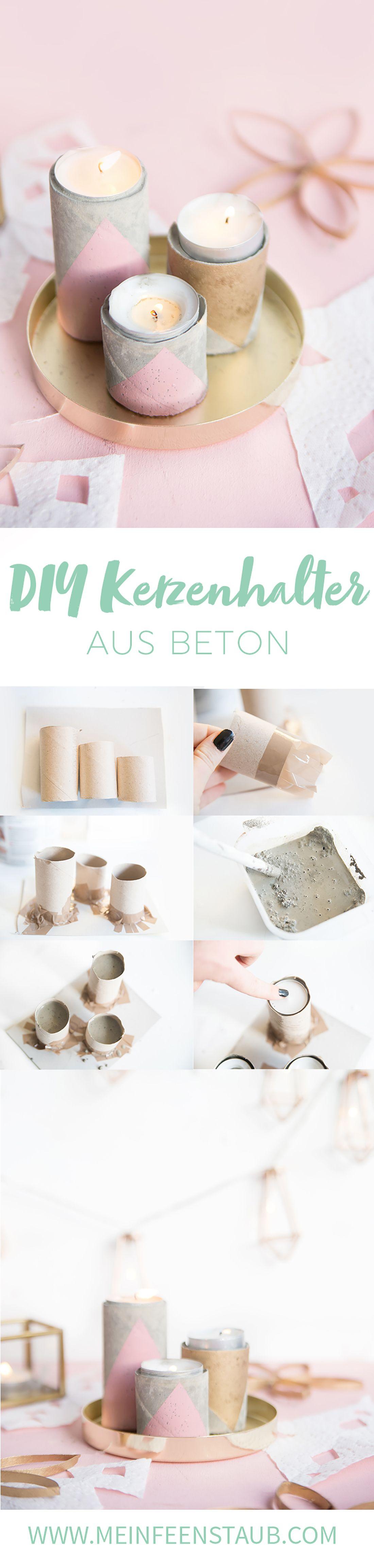DIY: Geometrische Kerzenhalter aus Beton | aus Zewa-Rollen | mein feenstaub