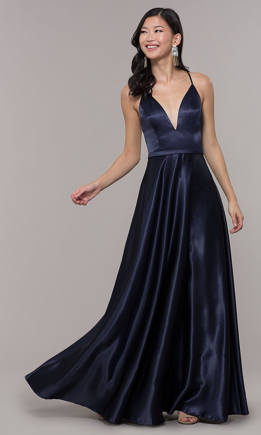 063d5089a99 Long Satin V-Neck Prom Dress by Simply in 2019