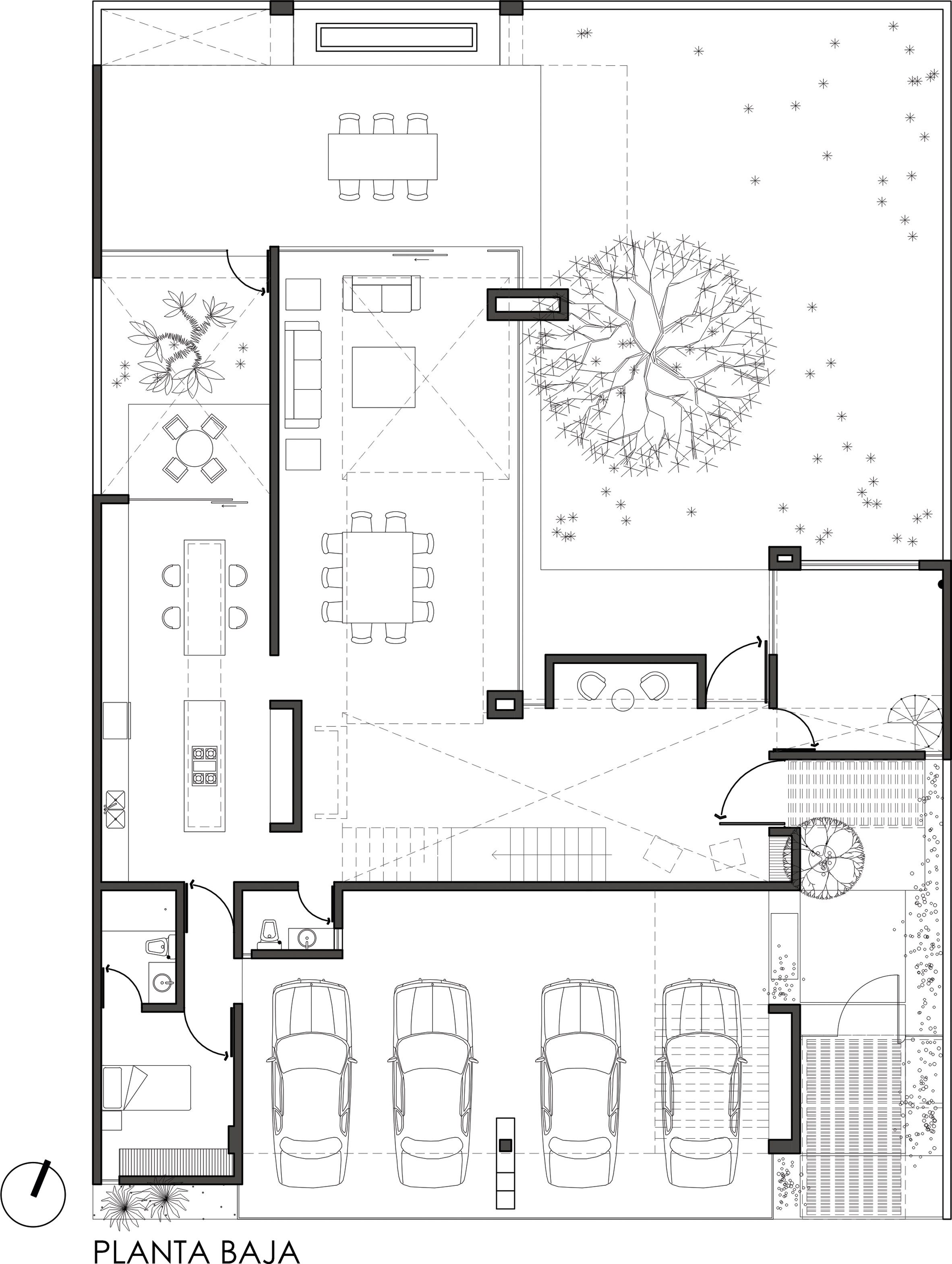 Mesquite Tree Serves As Focal Point For Mexican Home By Bag Arquitectura Drawing House Plans Craftsman Floor Plans House Layouts