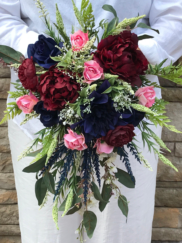 Large Cascading Silk Navy Burgundy Mauve Bridal Bouquet-Navy Cascading Bridal Bouquet-Peonies-Roses-Ranunculus-Dahlias-Cascading Bouquet