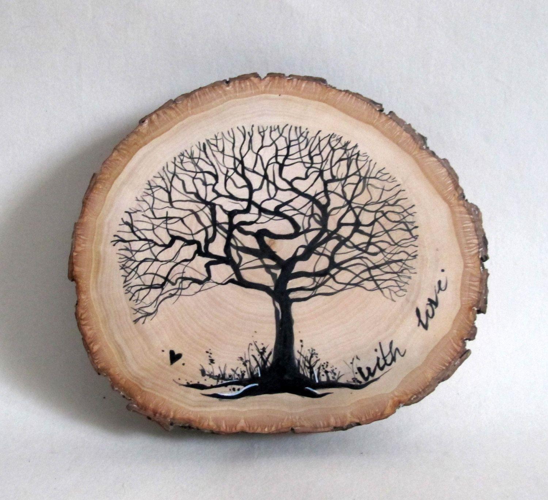 Wood Slice Art, Hand Painted Tree on Slice, Wood Wall Art ...