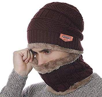 Winter Warm Knit Beanie Hat Neck Warmer Scarf Set 2 Pcs with Fleece Lining  for Men and Women 3dee513eebf9
