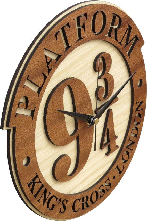 harry potter clock platform 9 34 clock in wood