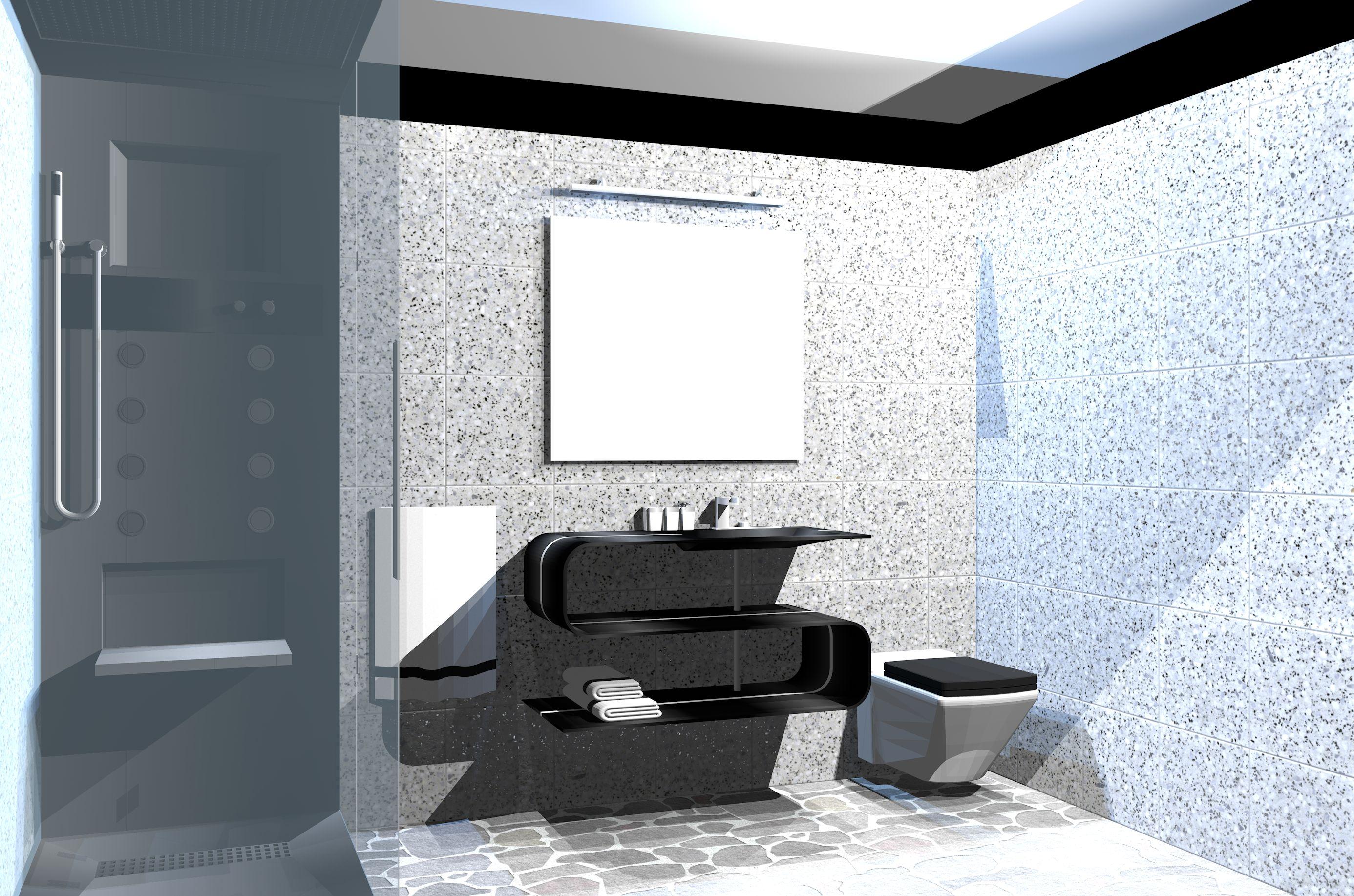 Fancy and modern bathroom, 3d design, vectorworks, Black, grey and ...
