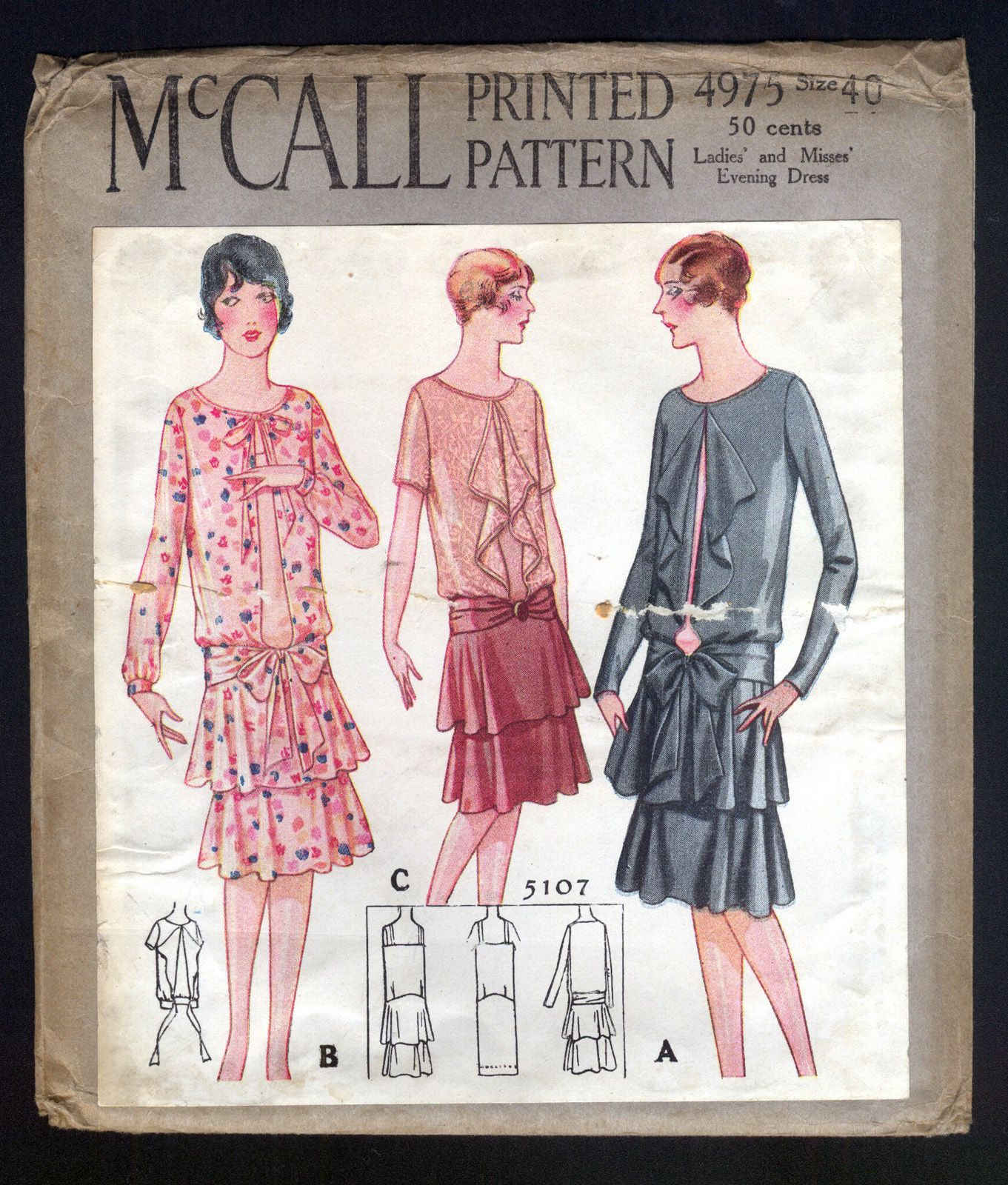 1920's McCall Pattern Ladies' Evening Dress Large Size ...