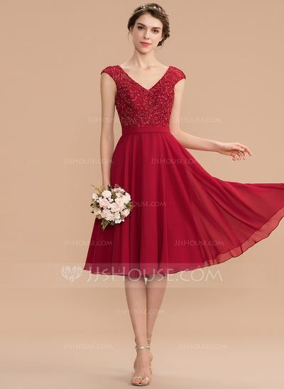 [AU$ 190.00] A-Line V-neck Knee-Length Chiffon Lace Homecoming Dress With Beading - JJ's House #lacebridesmaids