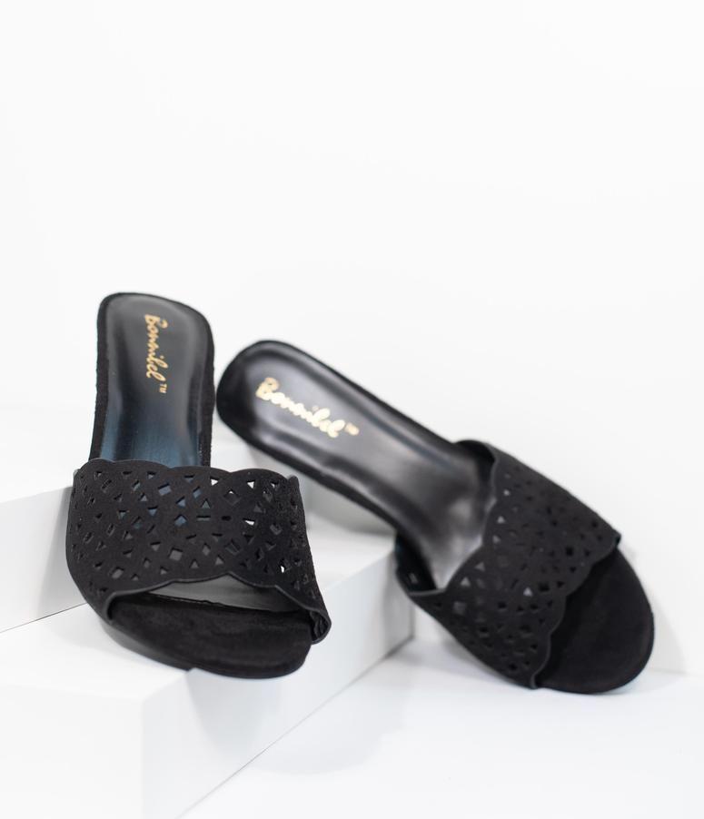 07f01a1c60ec Black Suede Cutout Peep Toe Mule Heels in 2019
