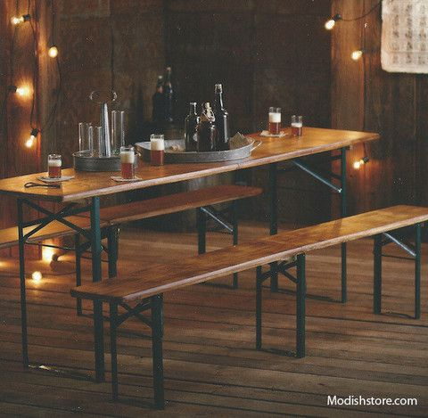 Folding Biergarten Table Benches By Roost Habitat Design Sonoma