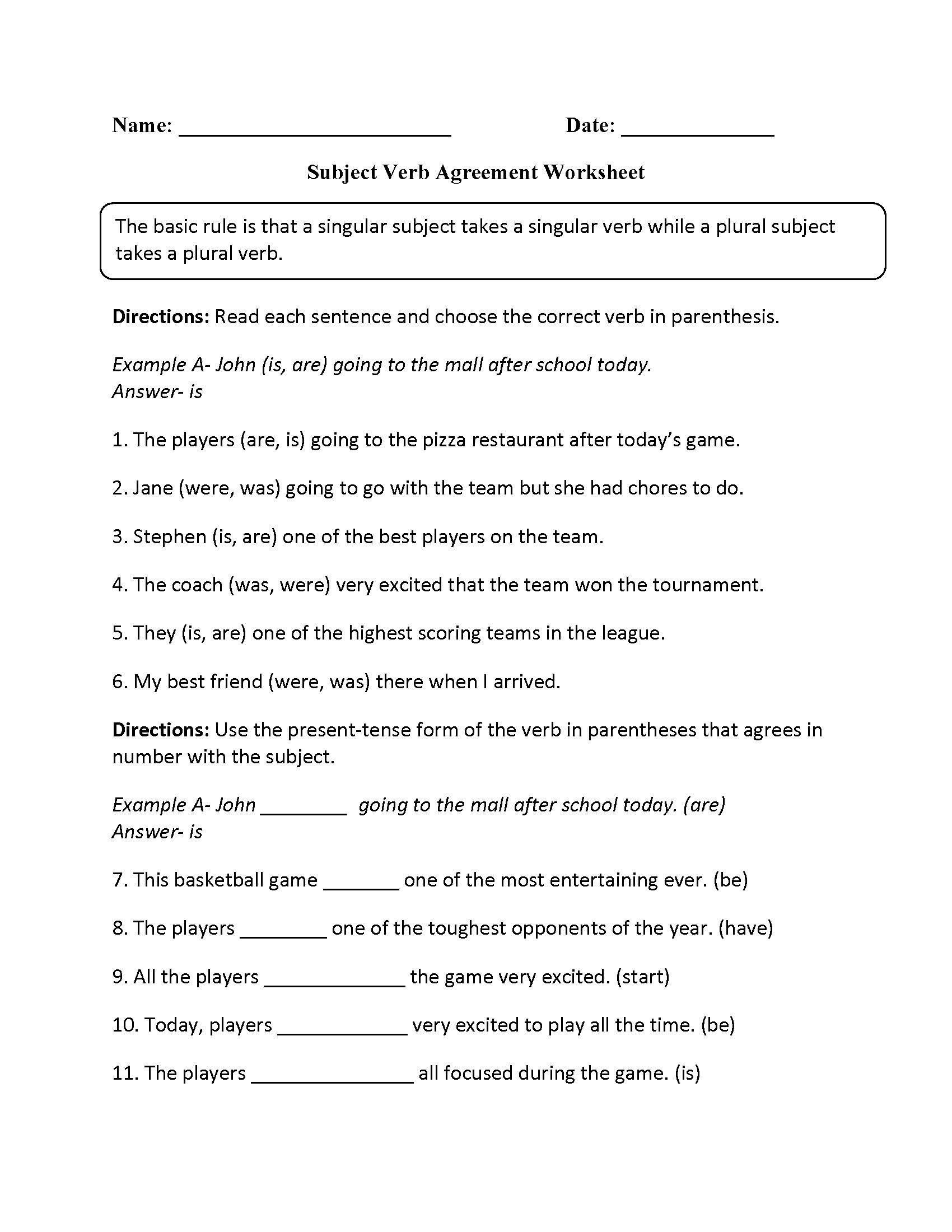 Plural Nouns Worksheet 5th Grade In 2020 Grammar Worksheets Punctuation Worksheets Subject And Verb