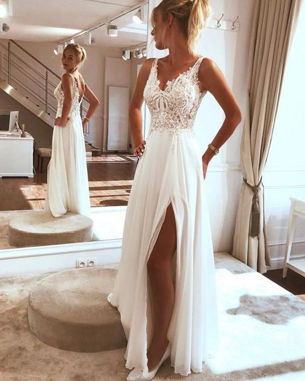 Sexy Beach Wedding Dresses Lace Appliques V-Neck A Line Backless Bohemian Bridal Gown Split Side 8