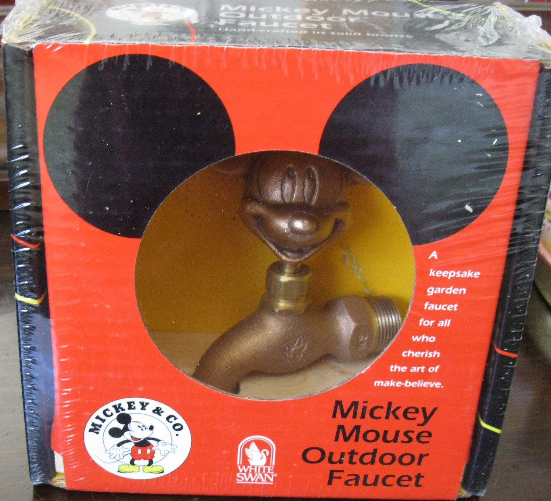 Disney White Swan Mickey Mouse Bronze Metal Garden Faucet Spigot ...