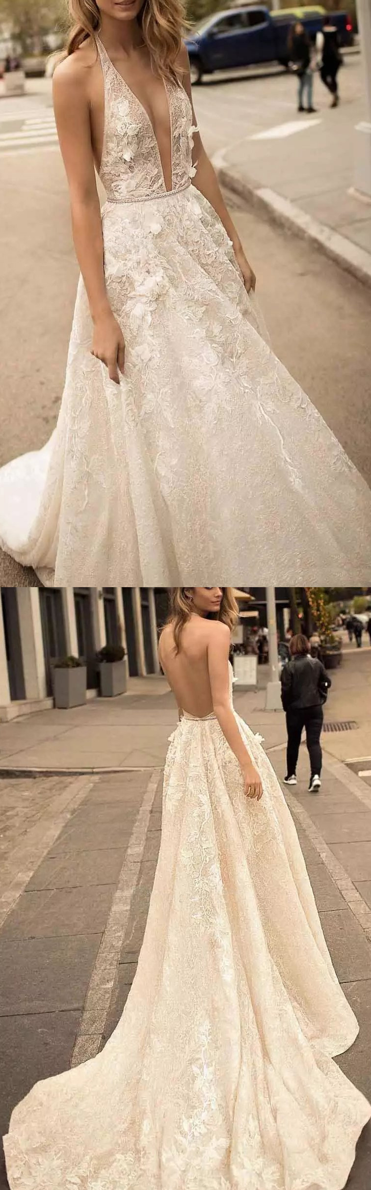 Lace wedding dress with train  Trendy White Long Wedding Dress With Backless Lace Organza Sweep