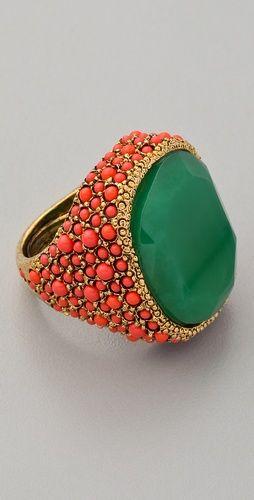 Coral & Jade Cocktail Ring