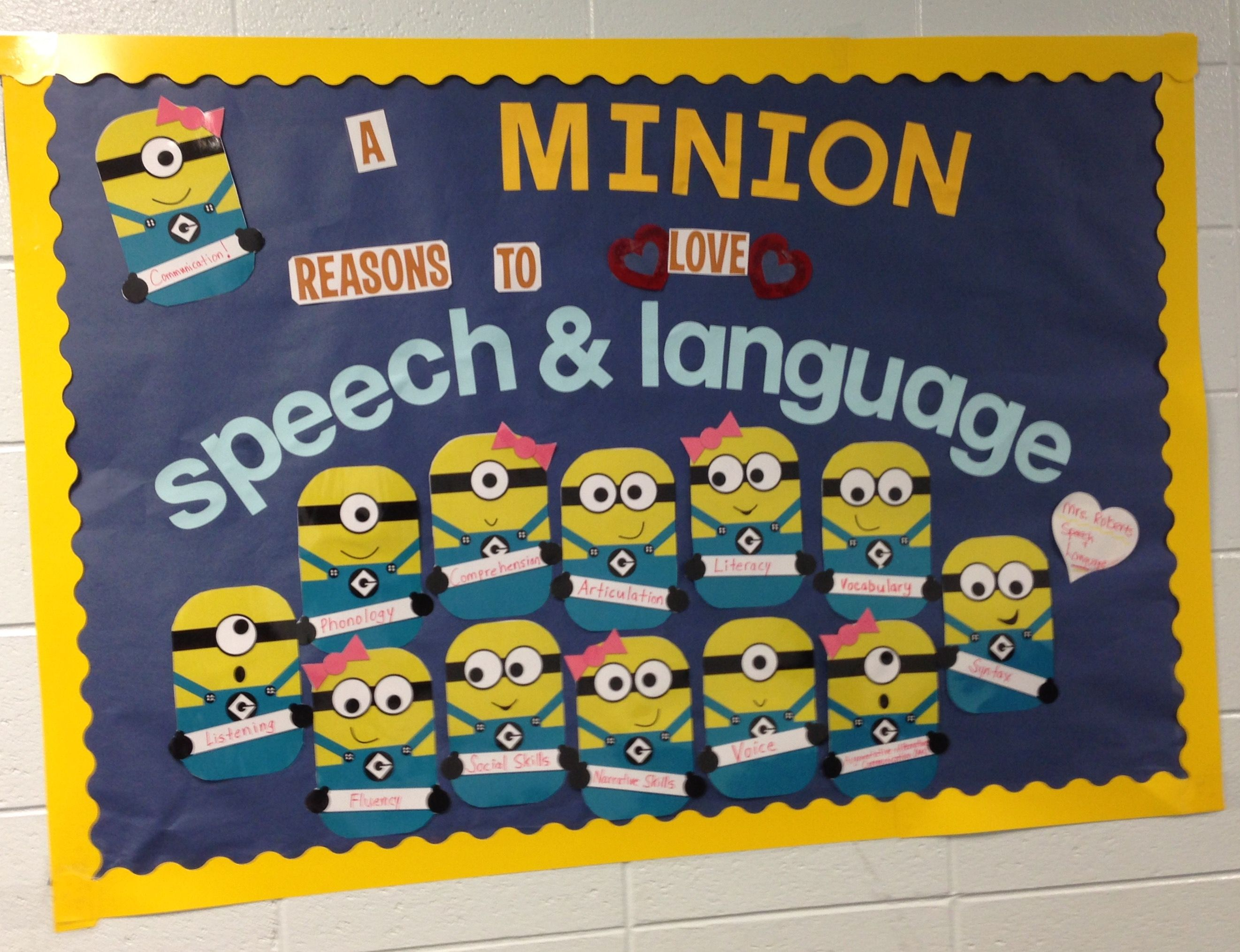 My Speech Amp Language Minions Bulletin Board Fall