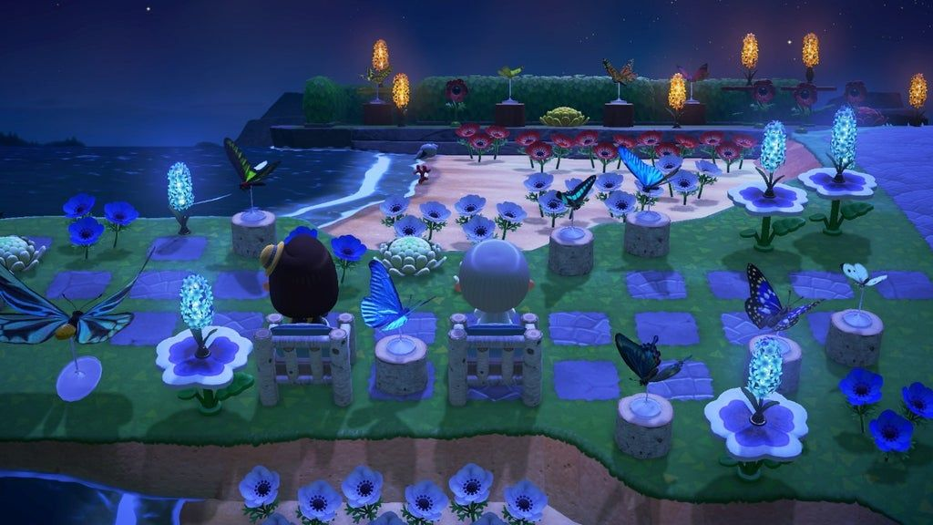 I Really Like How My Butterfly Garden Looks At Night Animalcrossing Animal Crossing Wild World Animal Crossing New Animal Crossing