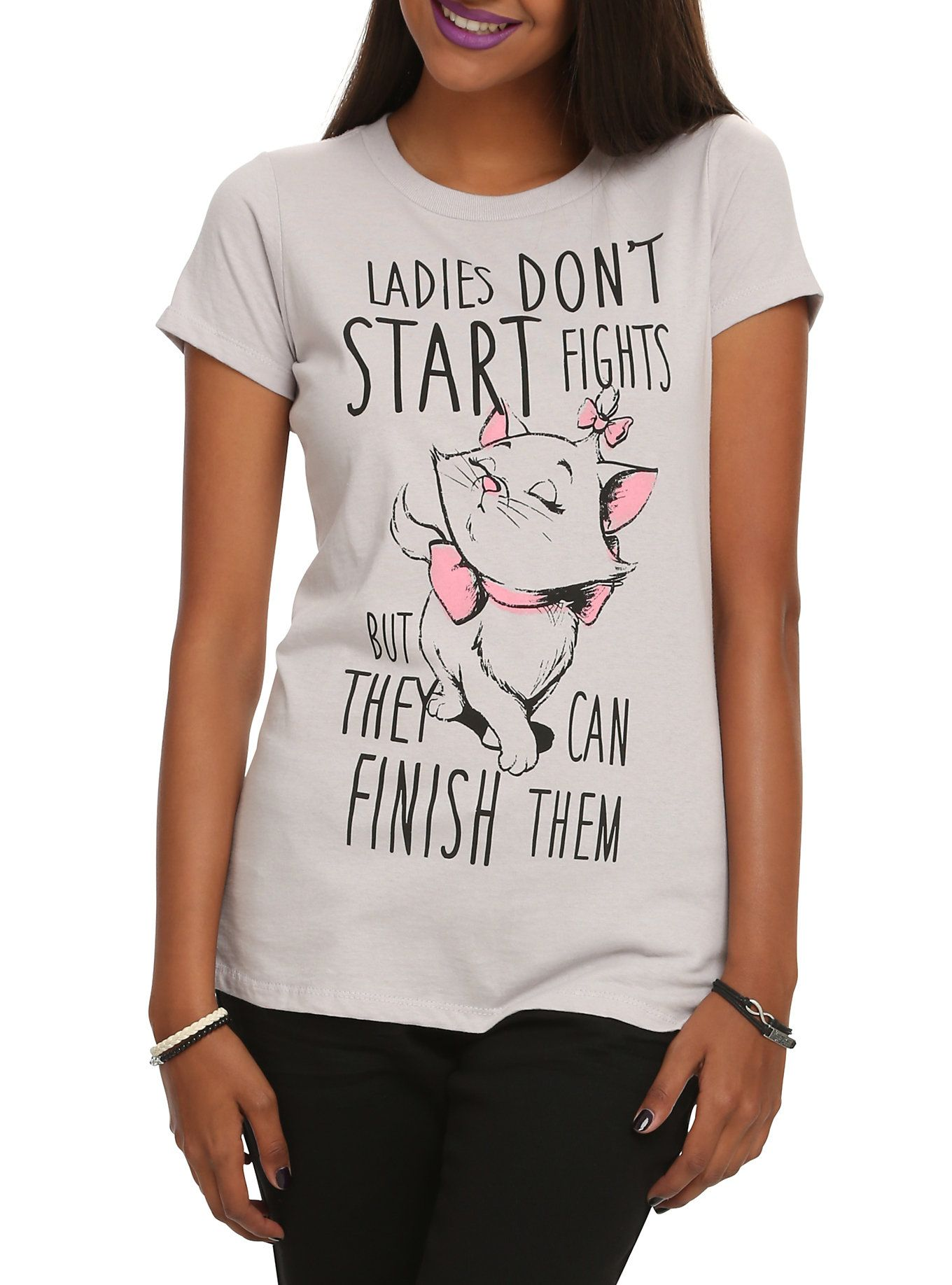 Disney The Aristocats Marie Ladies Don T Start Fights Girls T Shirt Shirts With Sayings Quote Shirts Fashion Disney Tshirts