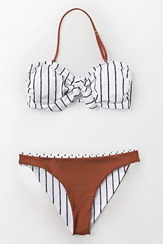 10bafa487a58 CUPSHE Women's Reversible Striped Caramel Bandeau Bikini, #Ad #Reversible,  #Affiliate,
