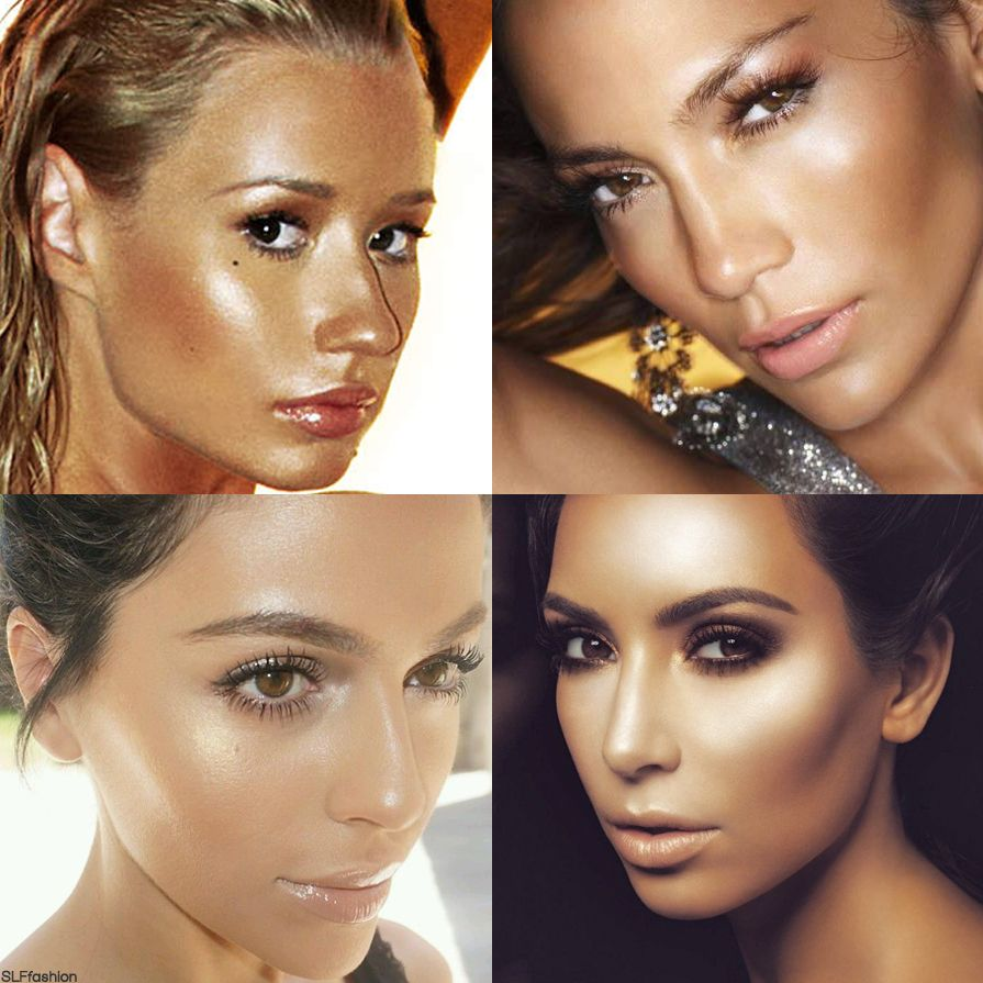 Trendy makeup technique: Strobing i.e. Highlighting. Golden sheen highlight over tanned skin complexion perfect for summer. More Trendy Makeup Styles.