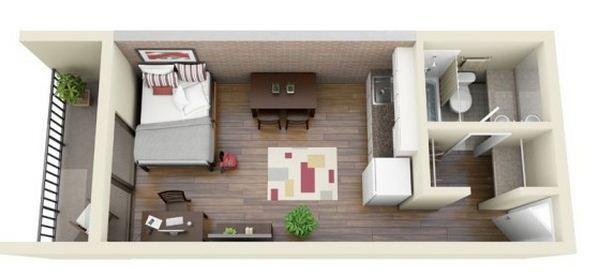 Plano de monoambiente de 25 m2 casas arq pinterest for Departamentos alargados