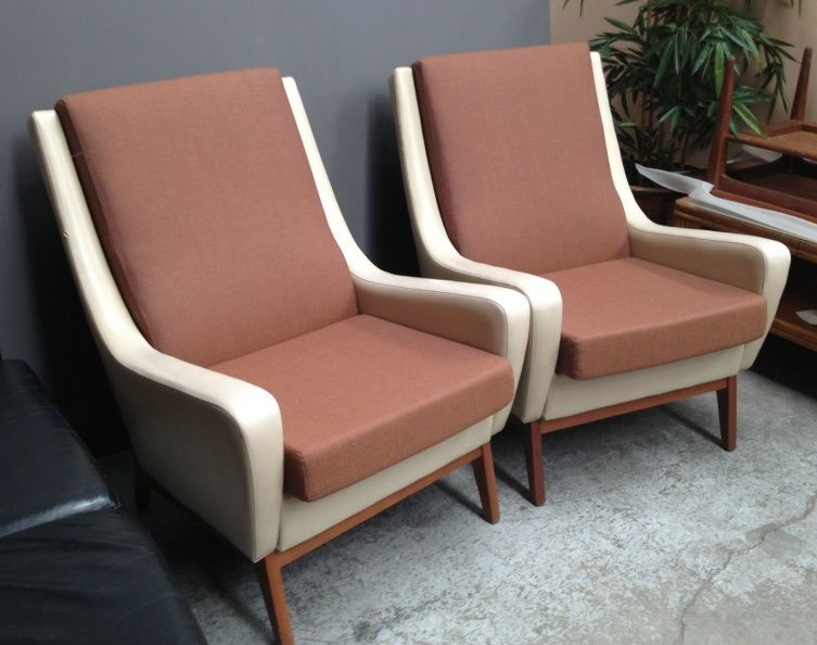 PAIR Vintage 1969 Aust WRIGHTBILT CHAIRS Newly Reupholstered High Density  FOAM