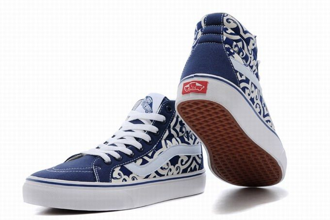 6d187075284792 Vans SK8-Hi Floral Blue White Womens Shoes  Vans