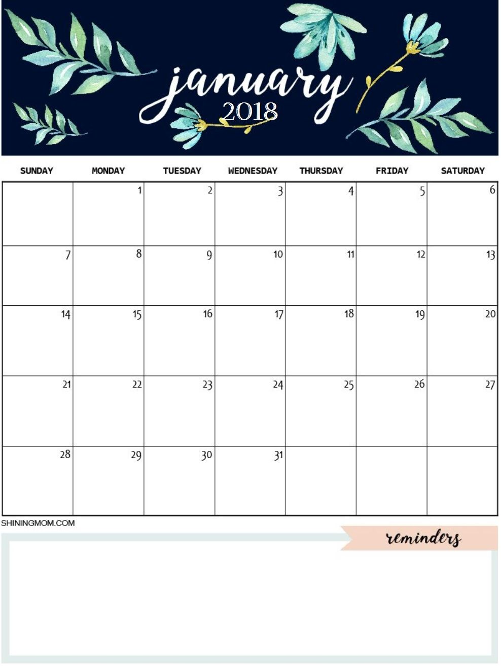 image relating to Cute Calendars called January 2018 Adorable Calendar MaxCalendars January calendar