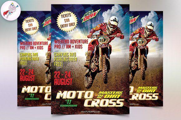 Motocross Sports Flyer Template Flyers Flyers Pinterest