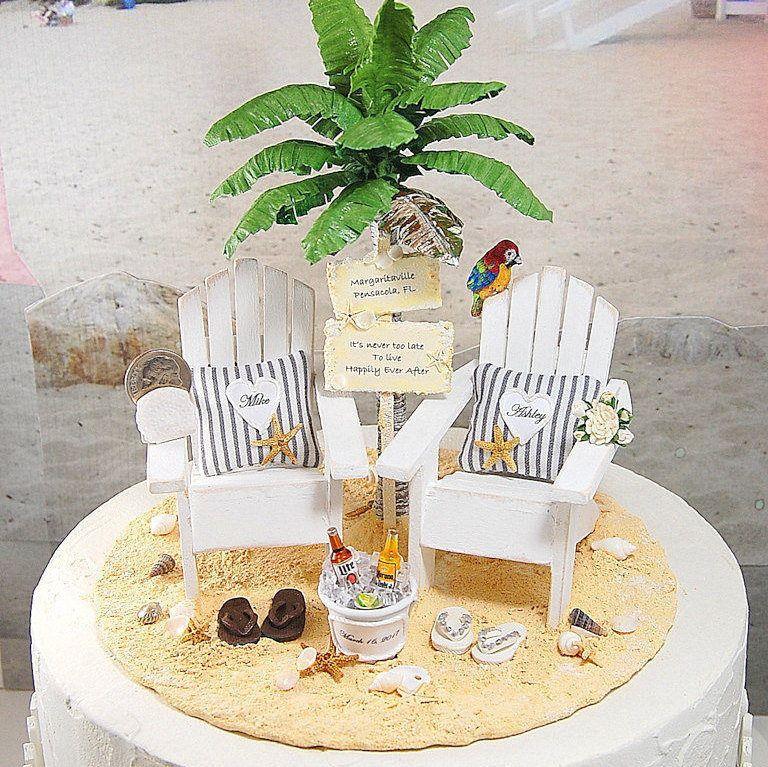 Beach wedding cake topper keepsake custom colors 6 inch
