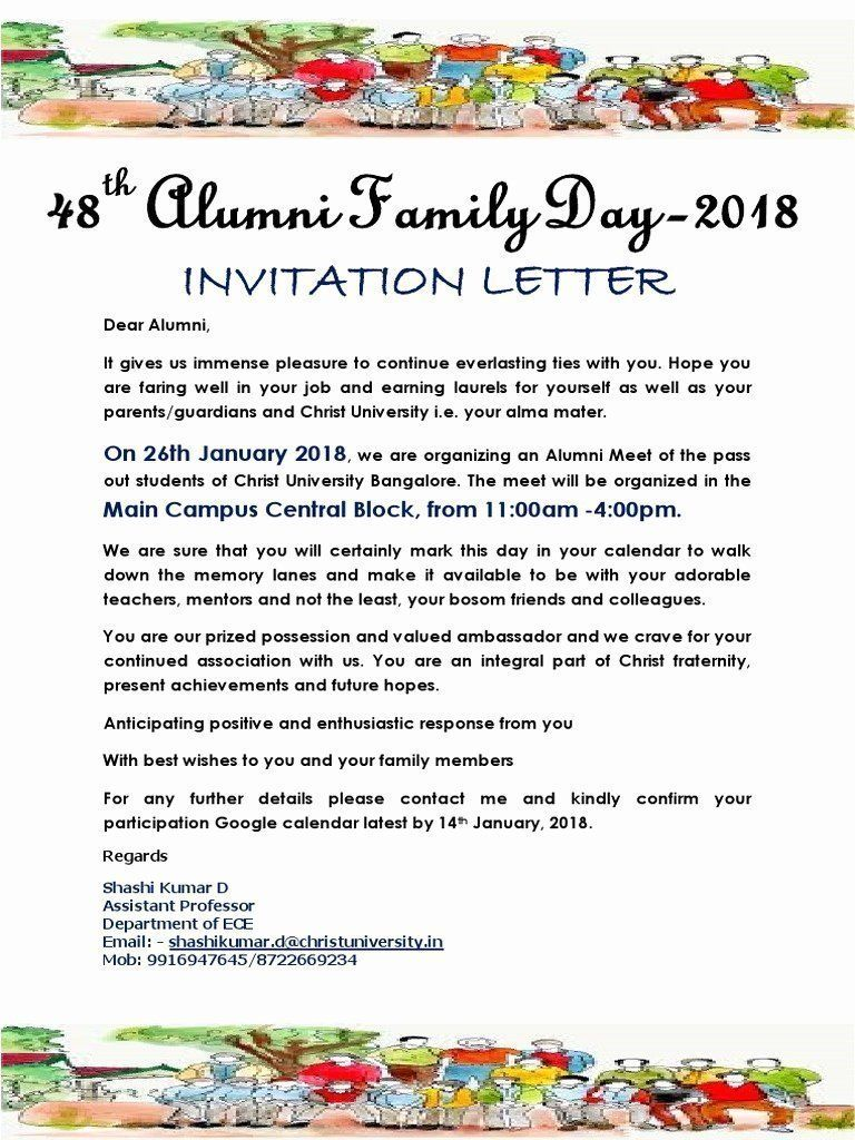 Family And Friends Day Invitation Lovely Alumni Day Invitation Friends Day Invitations Invitation Layout